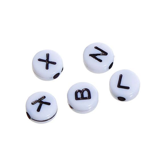 100pcs Mixed Round Acrylic Sliver Letter// Alphabet Spacer Beads 10x 10mm