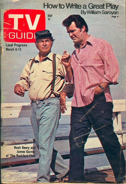 """March 6, 1976. Noah Beery and James Garner of NBC's """"The Rockford Files."""""""