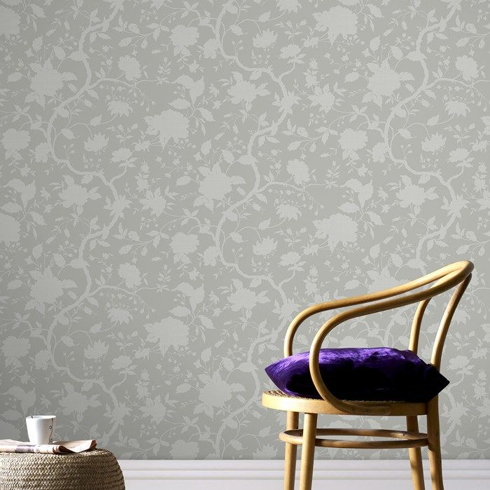 Botanical Floral Wallpaper by Kelly Hoppen - Designer Cream Wall Coverings by Graham  Brown