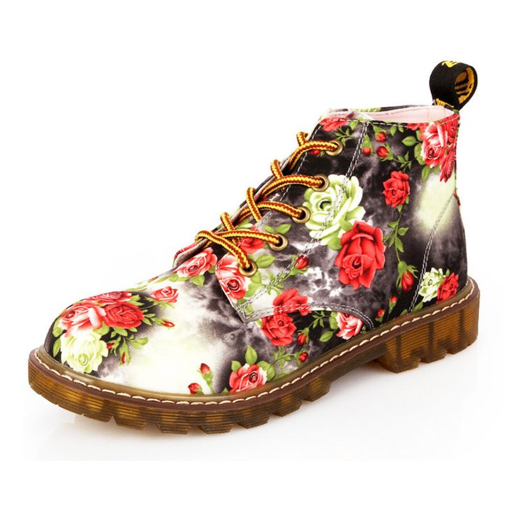 HEE GRAND Printing Ankle Boots Ladies Elegant Floral Women Boots Spring Lace-up Flats Platform Shoes Woman High Quality XWX3426