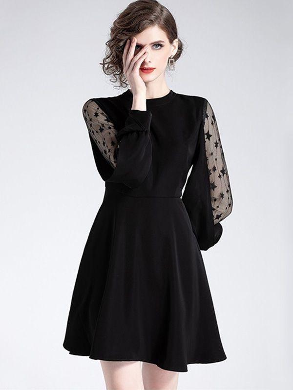 afd1a6052781 2019 的Solid Color Mesh Contrast A-Line Mini Dresses 主题| Mini ...