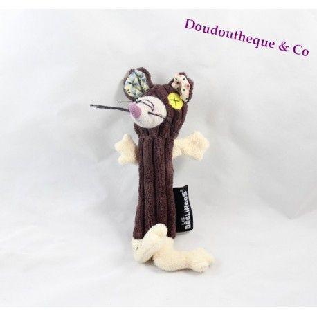 Hochet Ratos rat Les Déglingos marron jouet d'éveil 20 cm