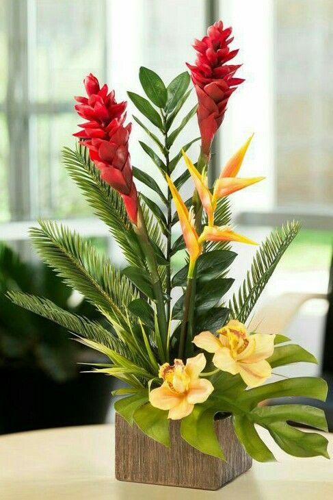 tropical flowers and foliage so lifelike they will fool even a discerning eye natural colors of torch ginger bird of paradise heliconia and cymbidium