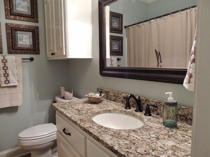 Guest Bathroom Renovation - Rainwashed by Sherwin Williams, St. Cecilia granite
