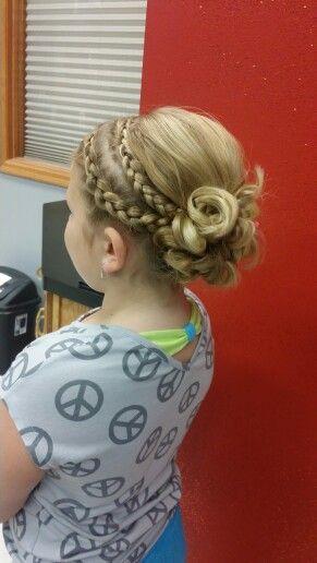 Little girl, Braided hair updo for wedding, so cute!