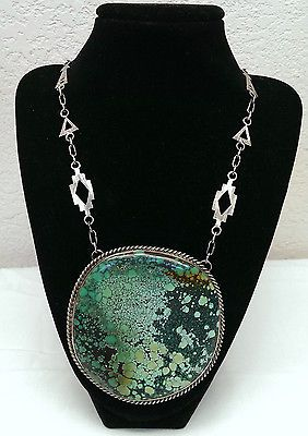 RARE Huge Native American Sterling Silver Turquoise Necklace Signed Nakai -*-*-o495