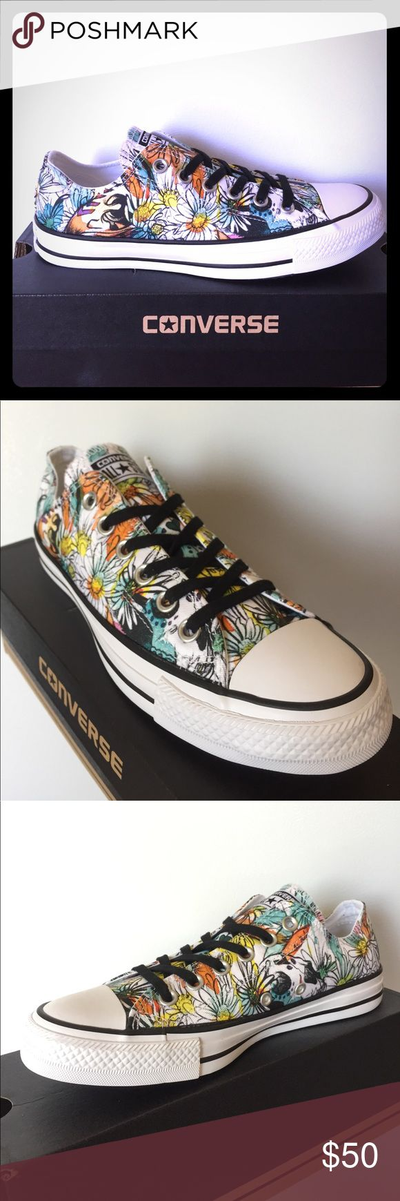 BRAND NEW Converse Chuck Taylor Rebel Print!!! Check out this RAD classic Chuck with Rebel Print!!! Flowers  sketched Print throughout with vibrant yellow, teal and orange colors!!! Very unique chucks!!! DONT MISS OUT!!! Converse Shoes Sneakers