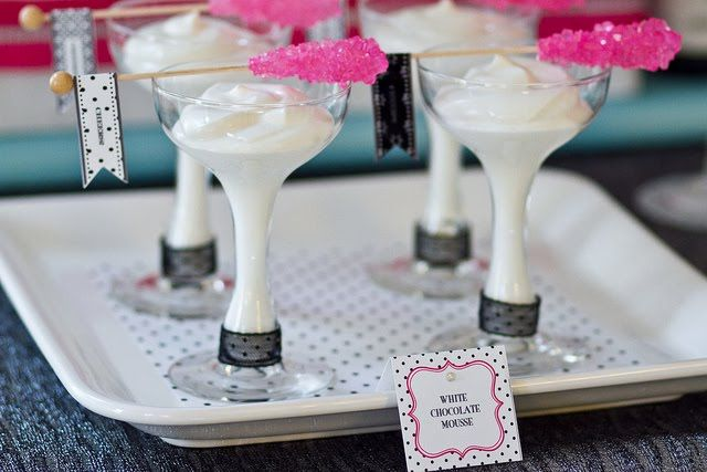New Years Eve Party - interesting idea.. rock candy crystal sticks with dessert glasses - love the flags