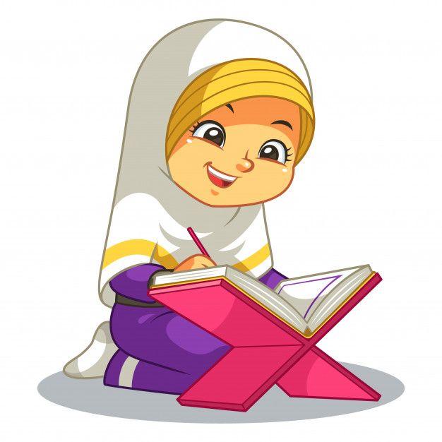 Moslem Girl Reading Quran Islamic Cartoon Girl Reading Muslim Kids Activities