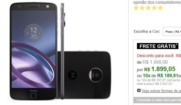 """Smartphone Moto Z Style Dual Chip Tela 5.5"""" Câm 13MP  Frontal 5MP com Flash 64GB 4GB RAM << R$ 189905 em 10 vezes >>"""
