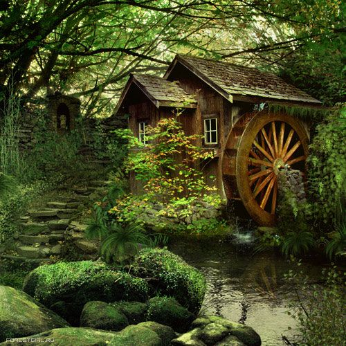 My ultimate dream home. A cabin in the forest by a small pond, and my own watermill.