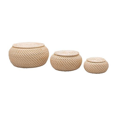 FRYKEN Box with lid, set of 3, rattan