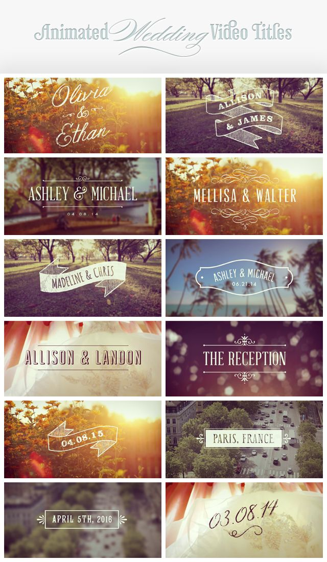 A Wedding video titles template for After Effects.