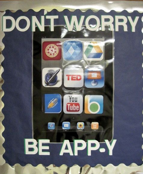 An iPad themed bulletin board for the new school year to go with our school wide one-to-one iPad roll out-- thanks to  Visit livinglaughingandloving.com  (http://pinterest.com/pin/389702173977047476/) for the idea and template!