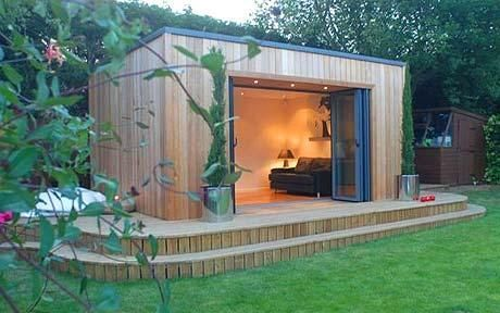The very chic Qube garden office, constructed in red cedar, with insulated plasterboard panels and fold-back aluminium doors. Prices from £20,000 to £70,000. www.theqube.co.uk; 01604 785786