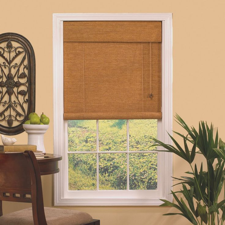contemporary blinds and shades   ... Hyman 040840 Woven Cane RollUp Paper Shade Blind - Knobs and Hardware