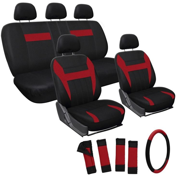 Oxgord Red 17 Piece Car Seat Cover Automotive Set