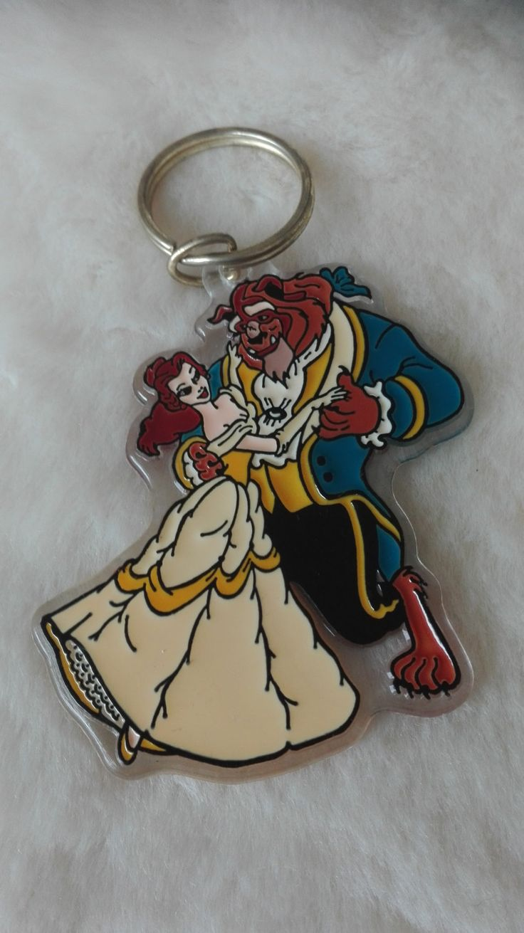 Vintage Disney Brabo Large plastic keychain keyring - Beauty and the beast by MetalmanEd on Etsy