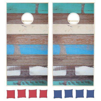 #wedding - #Painted Blue Wooden Beach Panel. Cornhole Set