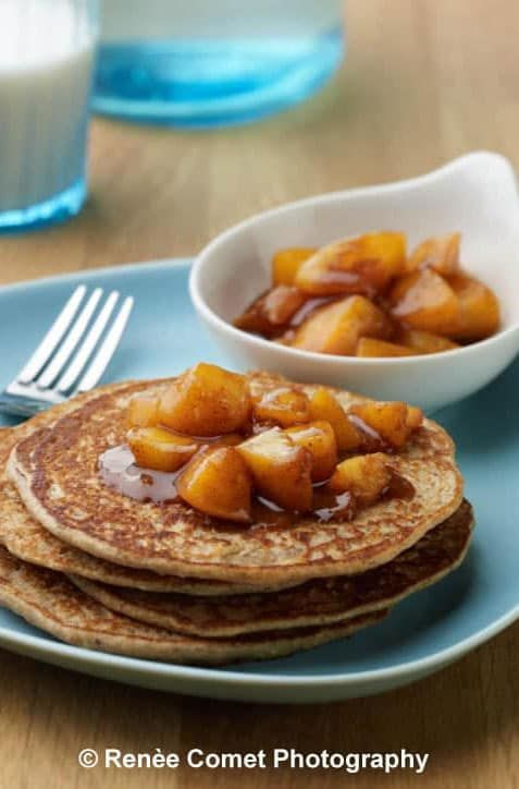 Enchanted Vanilla Pancakes with Chai-spiced Peach Compote - you or your guests will never guess the secret ingredient is beans!