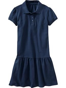 Girls Pique Polo Dresses - Need one or two of these dresses in navy blue and black - daughter thinks they are super comfy - Rank #1