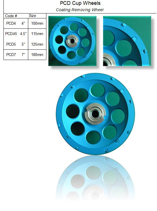 PCD Cup Wheel ( Coating Removing Wheel ) made by RM Tech Korea (StoneTools Korea®) provides the highest quality; world top selling more than 500 sets monthly