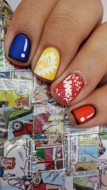 cute comic-inspired nails. #halloween #manicure #zappos