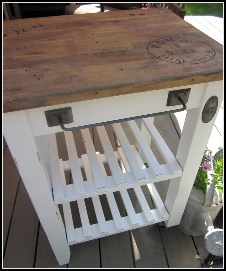 Great solution for a small island in a small kitchen space!  http://www.homeroad.net/2011/06/ikea-cart-re-make.html