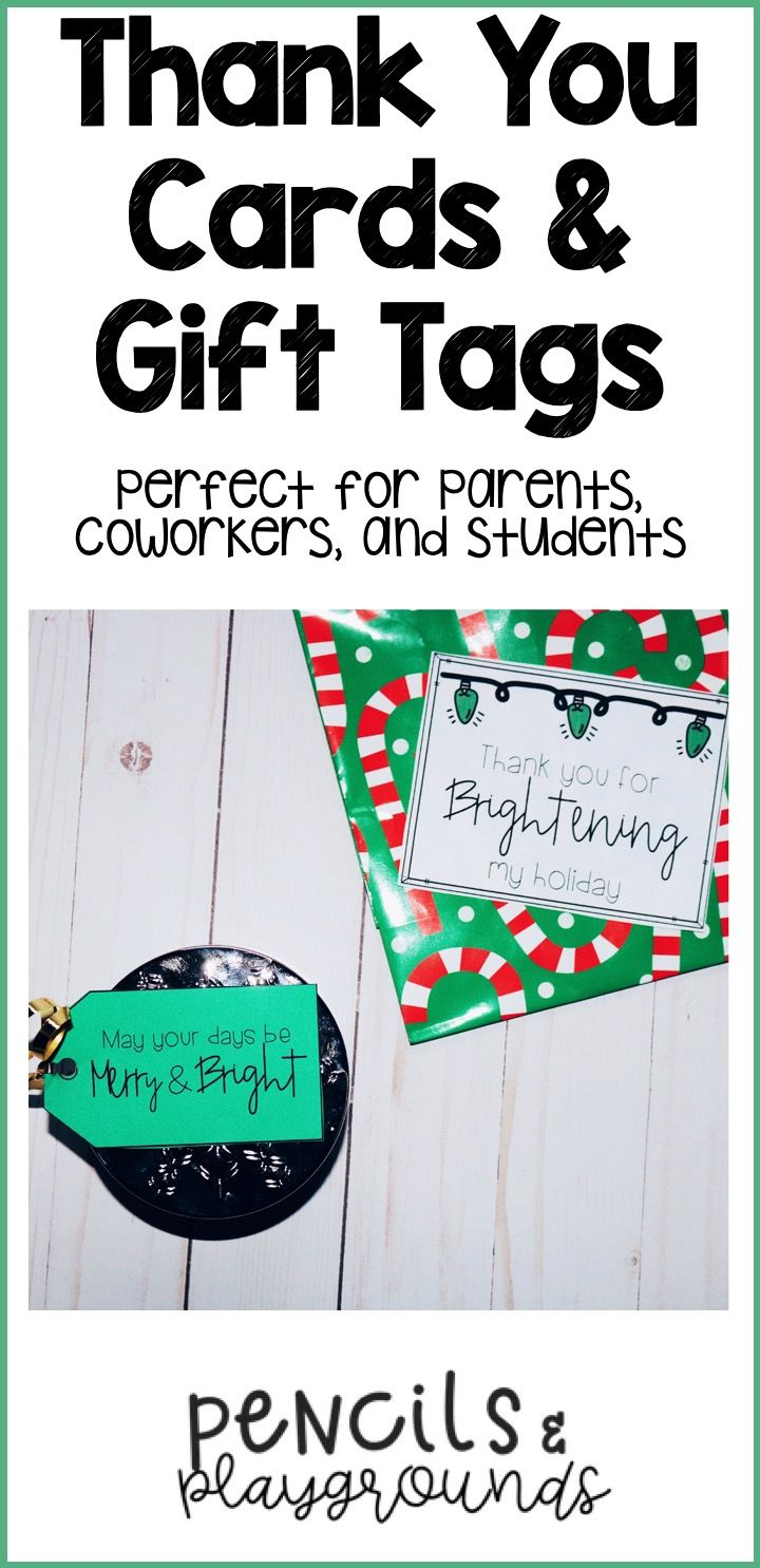 Thank You Cards Gift Tags Tpt Store Pencils And Playgrounds