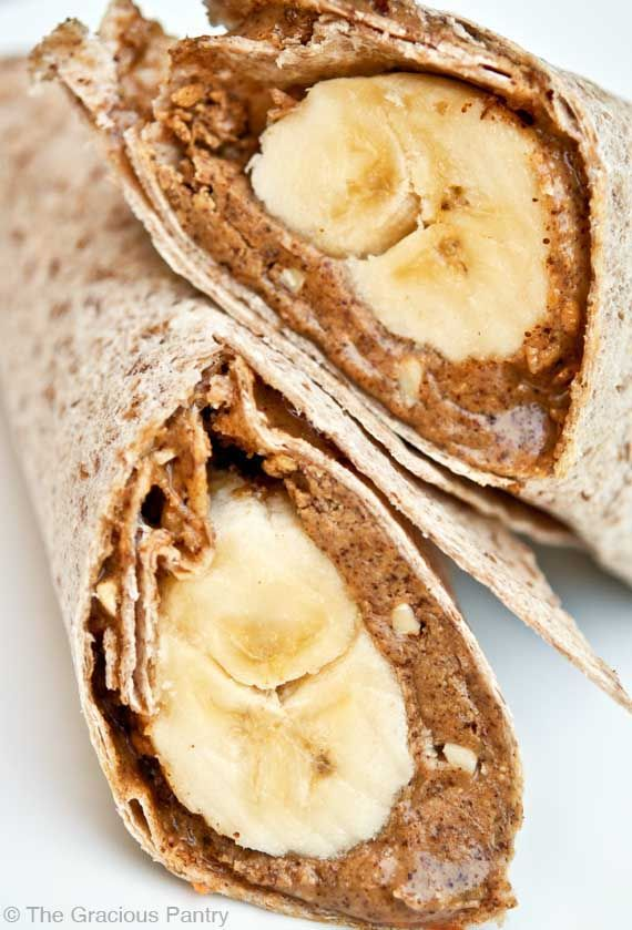 Clean Eating Banana Wrap / This could be adapted to be 21 Day Fix compliant by reducing the amount of nut butter. / (1/2 large tortilla = yellow; 1/2 large banana = purple; nut butter = tsps.)