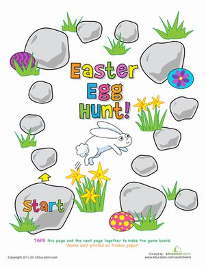 Easter First Grade Printable Board Games Worksheets: Play the Easter Egg Hunt Game!