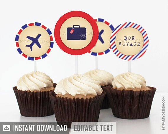 Travel Party / Farewell Party  Cupcake Toppers  by mypartydesign