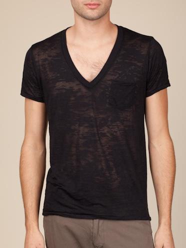 Alternative Apparel Burnout Deep V-Neck in True Black