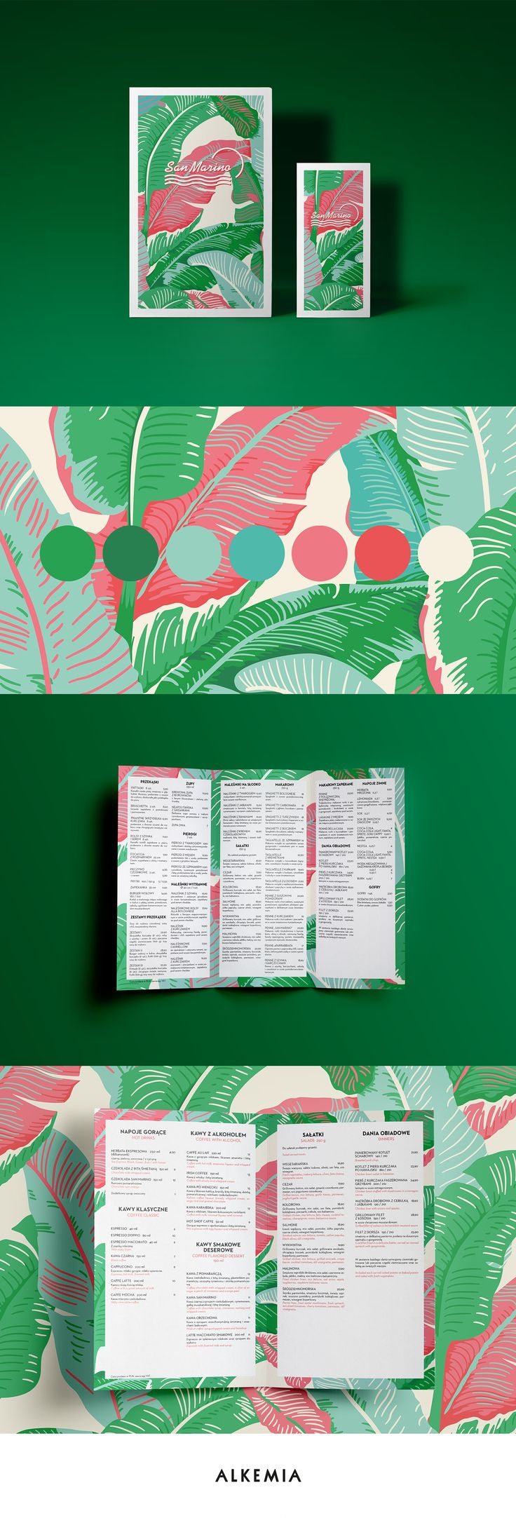 Visual idea for a new menu card of Restaurant San Marino was inspired by a haute couture world. In 2013 palm prints were the hottest visual trend on a fashion catwalks.Vibrant colors, straight and bold font, high contrast were the means to express warm a…                                                                                                                                                      More