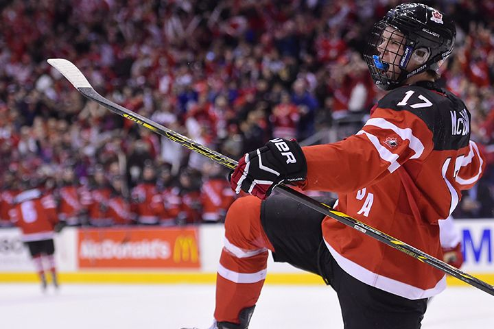 Canada's Connor McDavid celebrates his goal against Denmark with teammates Fredrik Gauthier (22) during second period quarter-final action at the World Junior Hockey Championships in Toronto on Friday January 2, 2015.