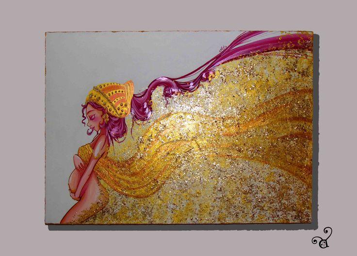 """LIFE acrilico effetto reflect, pasta """"luce"""", pasta oro e porporina su tela 50x70"""