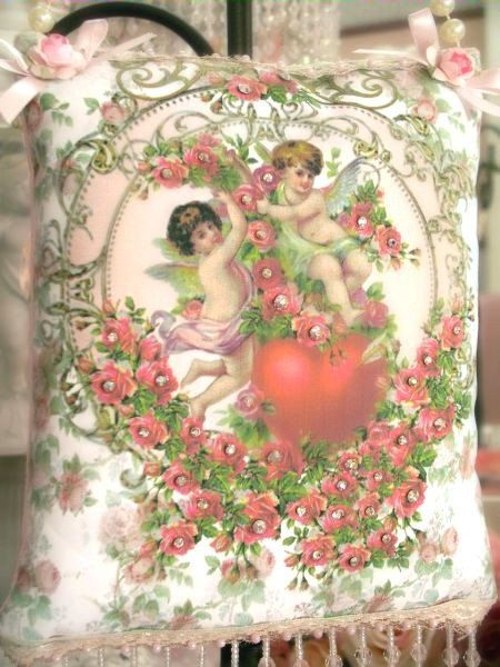 Cherubs and Heart Crystal Roses Sachets - Victorian Decor Sachets - Roses And Teacups - 1