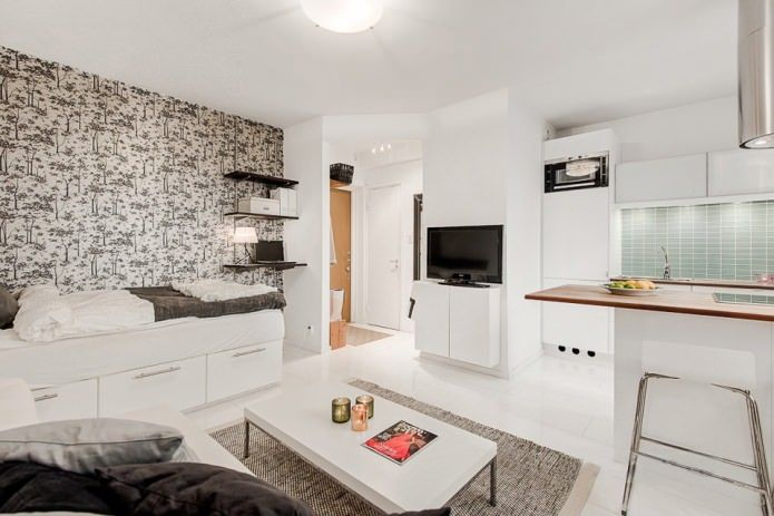 Белая квартира-студия 23 кв. м.