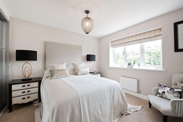 Beautiful Interior Designed Master Bedroom - using the gorgeous Dulux Mellow Mocha paint, silver tones and grounding black accents. By Elizabeth Archer {The Room Interiors}