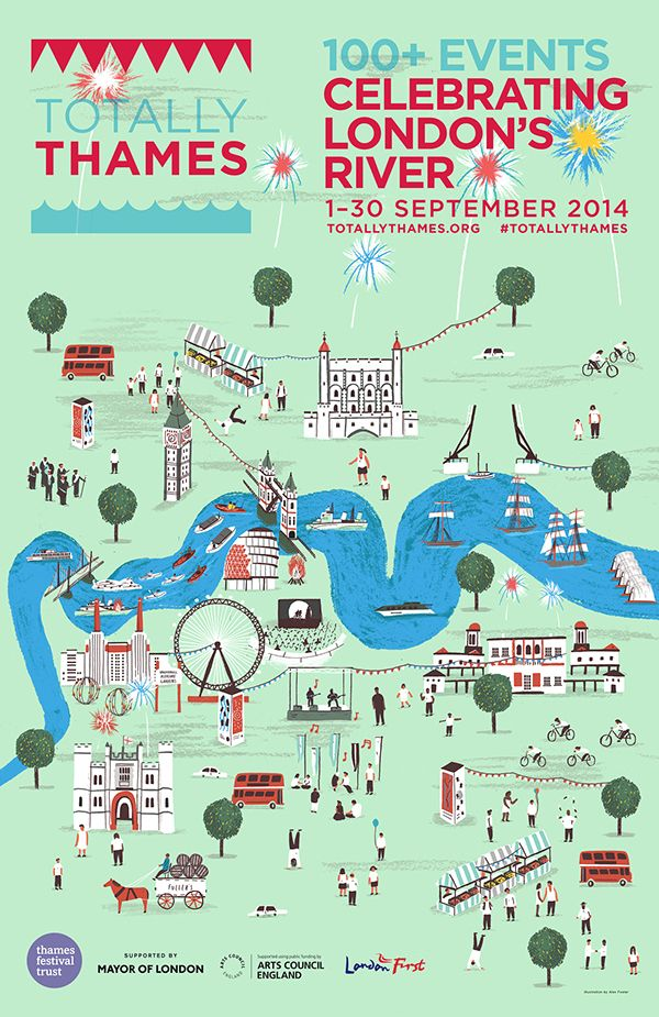Alex Foster - Totally Thames Map - Festival poster