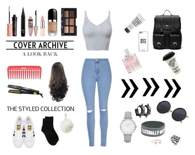 """""""Sin título #30"""" by daaniellestarling on Polyvore featuring moda, Glamorous, Jimmy Choo, Maybelline, Pirette, Benefit, NARS Cosmetics, Marc Jacobs, adidas Originals y Sole Society"""