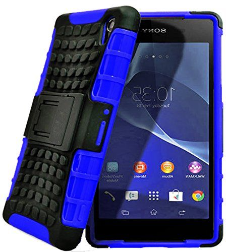 """myLife Protective Slim Armor Kickstand Case for the Sony Xperia Z2 {Graphite Black + Dashing Blue """"Durable Rugged Armor"""" Two Piece NEO Hybrid with Rubber Bumper Shell} myLife Brand Products http://www.amazon.com/dp/B00PMLKFG6/ref=cm_sw_r_pi_dp_ll4Aub15N4X2K"""