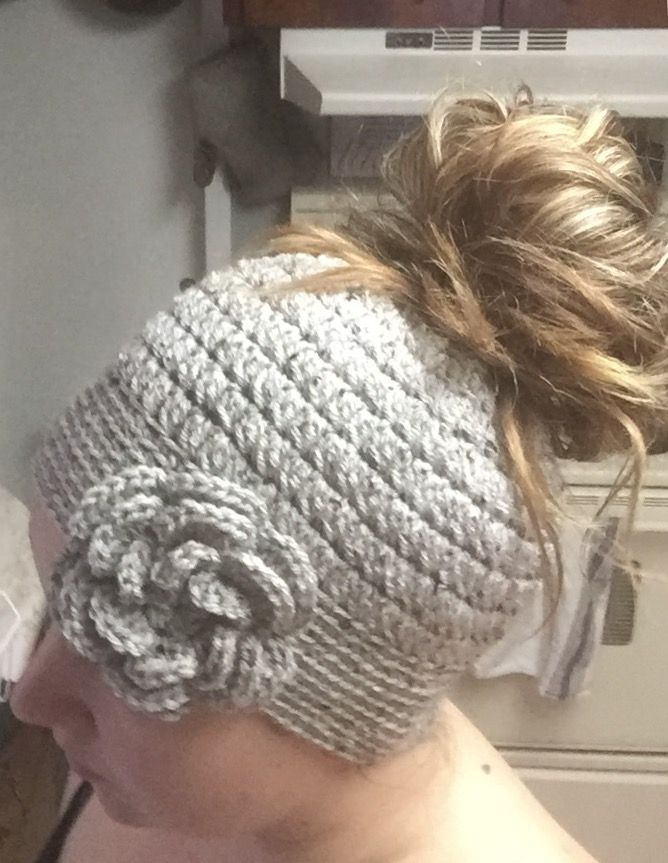 Messy Bun Hat made for my daughter. Pattern here: http://mangotreecrafts.blogspot.ca/2016/12/messy-bun-hat-free-crochet-pattern-in-3.html