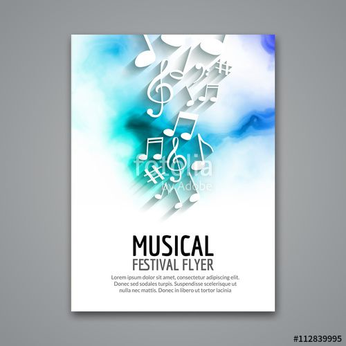 """Laden Sie den lizenzfreien Vektor """"Colorful vector music festival concert template flyer. Musical flyer design poster with notes"""" von vasilyrosca zum günstigen Preis auf Fotolia.com herunter. Stöbern Sie in unserer Bilddatenbank und finden Sie schnell das perfekte Stockbild für Ihr Marketing-Projekt!"""