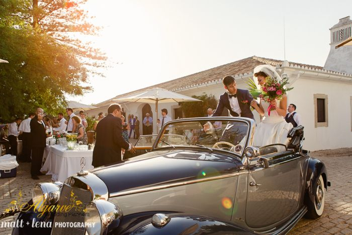 How about a vintage car to whisk you away from the ceremony? Yes please! By Algarve Wedding Planners