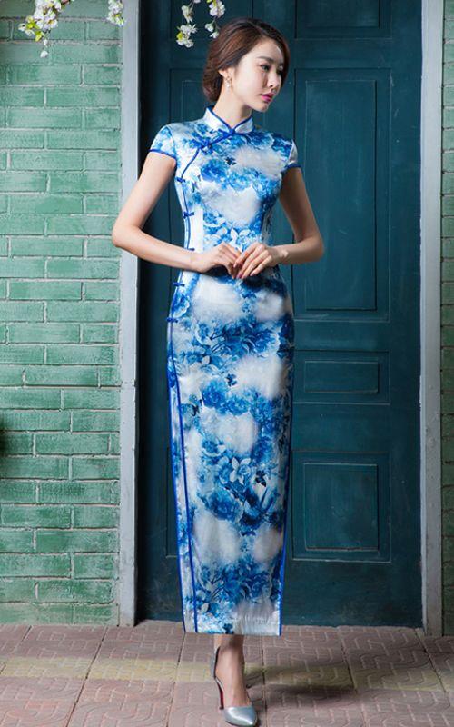 Blue flowers butterflies white silk cheongsam long Chinese mandarin collar sheath dress  SiXiaoJie QP15035-548 003