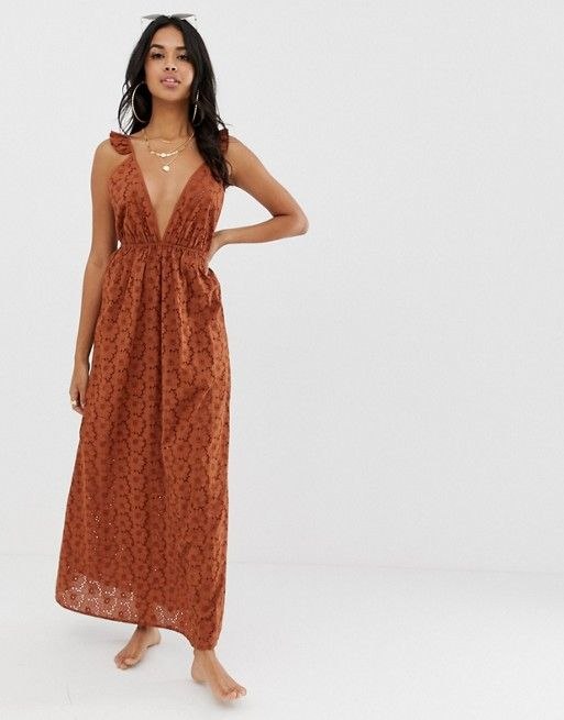 4c5599820b ASOS DESIGN broderie frill plunge maxi beach dress in 70s brown | ASOS