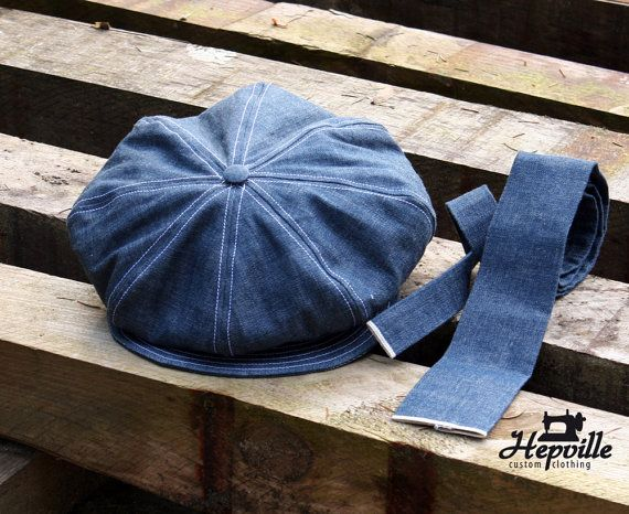 Newsboy Cap and Necktie made from Selvedge Denim Made by Hepville ... b22798215d63