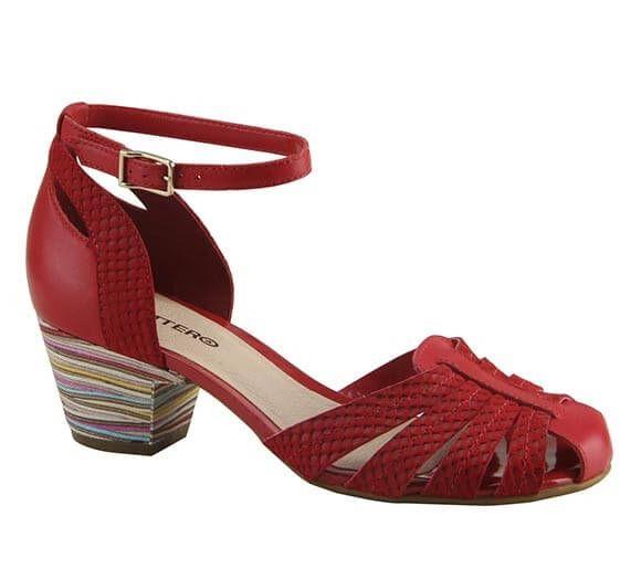 Sandália de couro com salto médio e tiras trançadas | Sandálias | Bottero Calçados