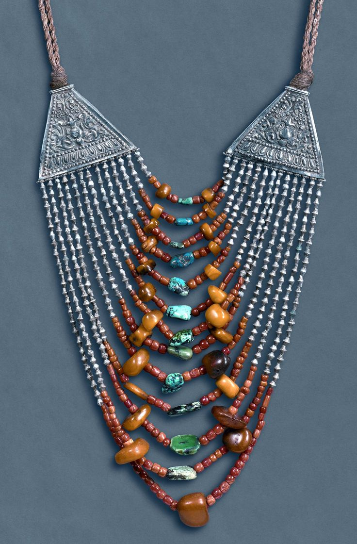 Necklace from Himahel Pradesh India. Coral, turquoise and amber , silver original stringing. (archives sold Singkiang)